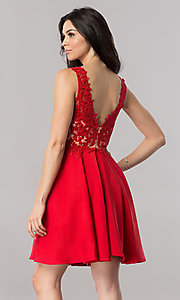 Image of short open-back homecoming dress with lace applique. Style: PO-8004 Back Image