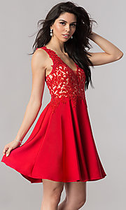 Image of short open-back homecoming dress with lace applique. Style: PO-8004 Front Image