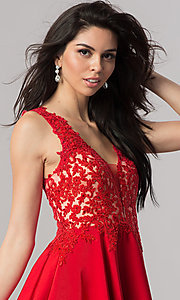 Image of short open-back homecoming dress with lace applique. Style: PO-8004 Detail Image 1