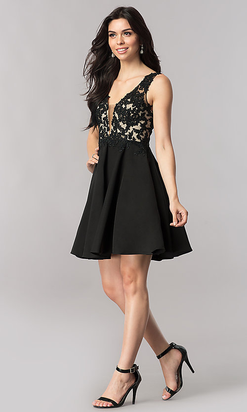 Image of short open-back homecoming dress with lace applique. Style: PO-8004 Detail Image 3