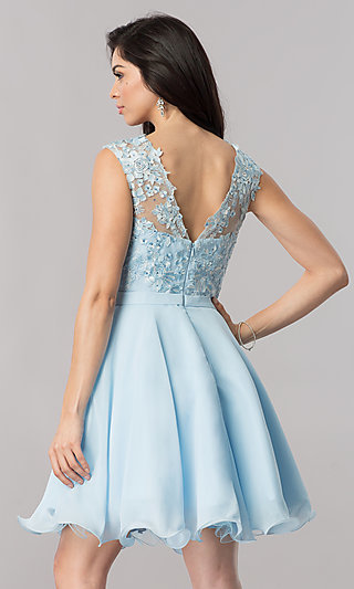 Chiffon Short Wedding-Guest Party Dress with Lace