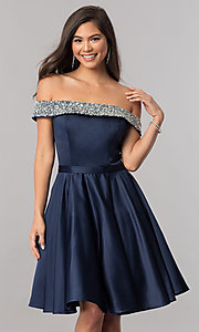 Image of off-the-shoulder short satin a-line homecoming dress. Style: PO-8138 Front Image