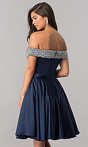 Image of off-the-shoulder short satin a-line homecoming dress. Style: PO-8138 Back Image