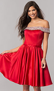 Image of off-the-shoulder short satin a-line homecoming dress. Style: PO-8138 Detail Image 2