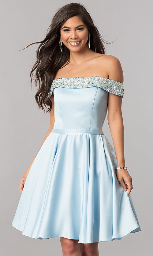 Image of off-the-shoulder short satin a-line homecoming dress. Style: PO-8138 Detail Image 1
