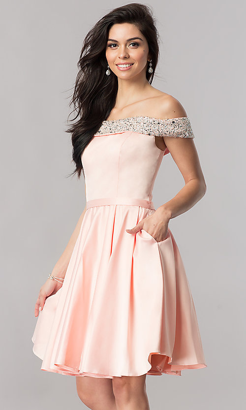 Image of off-the-shoulder short satin a-line homecoming dress. Style: PO-8138 Detail Image 3
