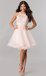 Image of short tulle homecoming dress with beaded lace. Style: PO-8074 Detail Image 3