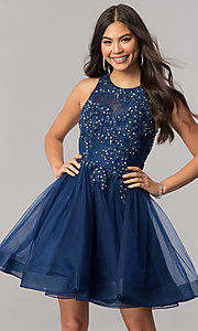 Image of short tulle homecoming dress with beaded lace. Style: PO-8074 Detail Image 1