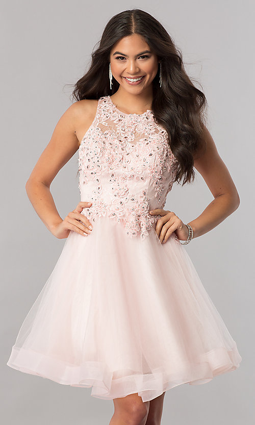 Image of short tulle homecoming dress with beaded lace. Style: PO-8074 Front Image
