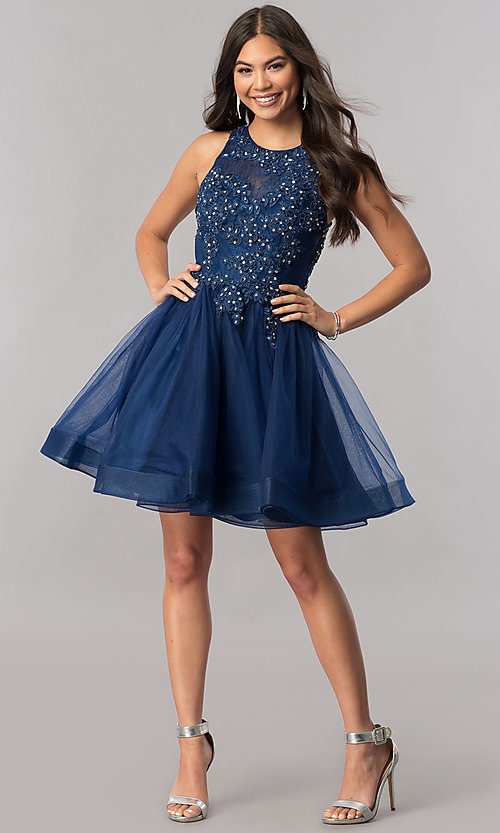Image of short tulle homecoming dress with beaded lace. Style: PO-8074 Detail Image 2