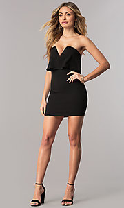 Image of sexy short strapless cocktail party dress. Style: BLU-BD7769-2 Detail Image 2