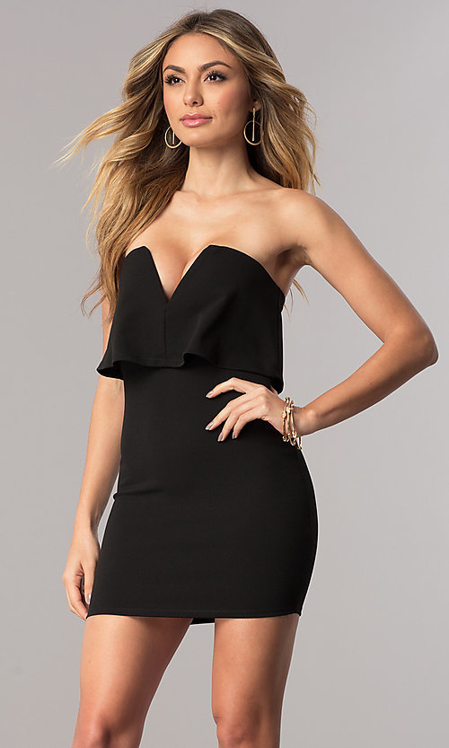 Image of sexy short strapless cocktail party dress. Style: BLU-BD7769-2 Front Image