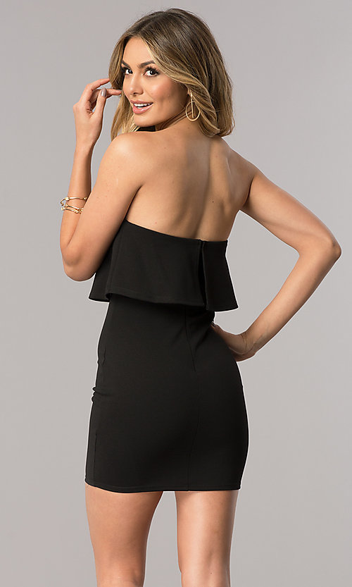 Image of sexy short strapless cocktail party dress. Style: BLU-BD7769-2 Back Image