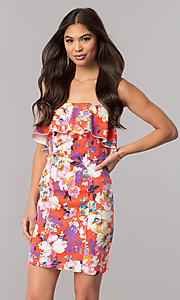 Image of print short strapless cruise party dress with ruffle. Style: EM-FGK-3147-638 Front Image