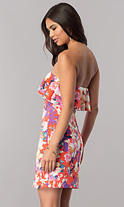 Image of print short strapless cruise party dress with ruffle. Style: EM-FGK-3147-638 Back Image