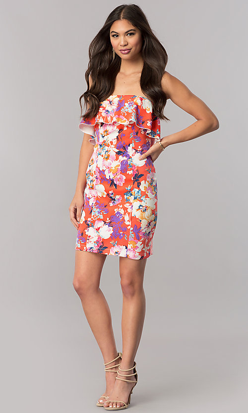 Image of print short strapless cruise party dress with ruffle. Style: EM-FGK-3147-638 Detail Image 1