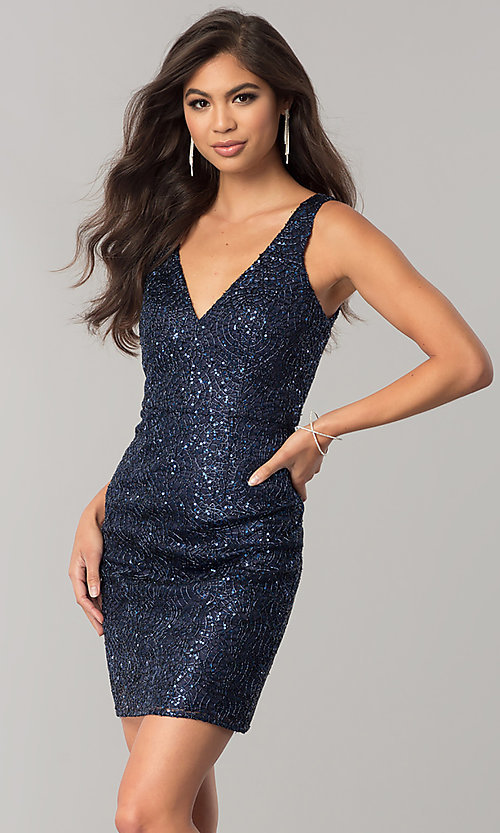 0807f7d8aa6 Image of sequin navy blue short homecoming party dress. Style  MT-8028-