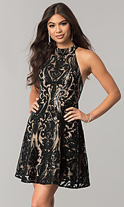 Image of open-back short homecoming dress with black sequins. Style: MT-8310 Front Image