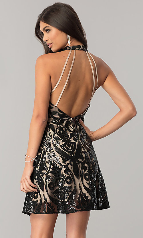 Image of open-back short homecoming dress with black sequins. Style: MT-8310 Back Image