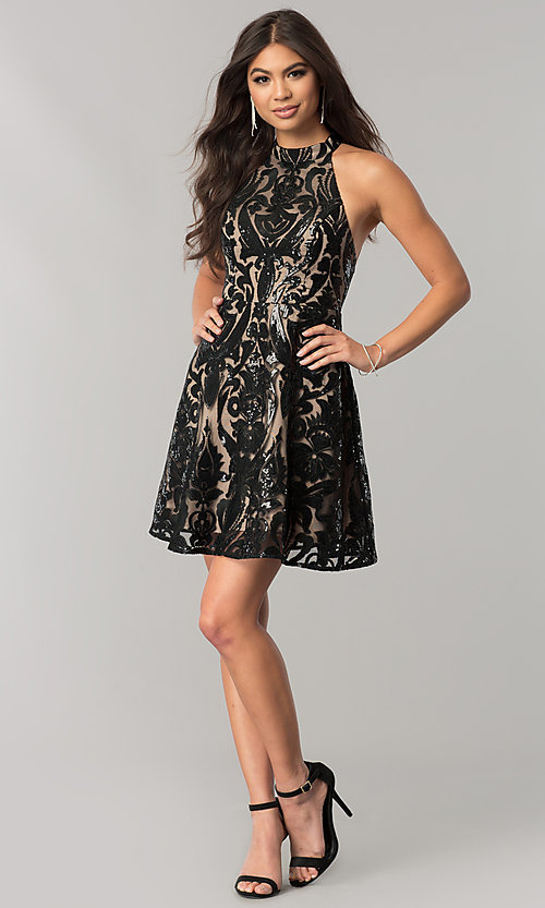 Image of open-back short homecoming dress with black sequins. Style: MT-8310 Detail Image 1