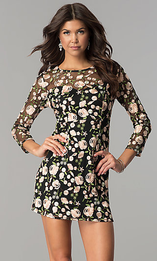 Embroidered Short Homecoming Dress with Sleeves