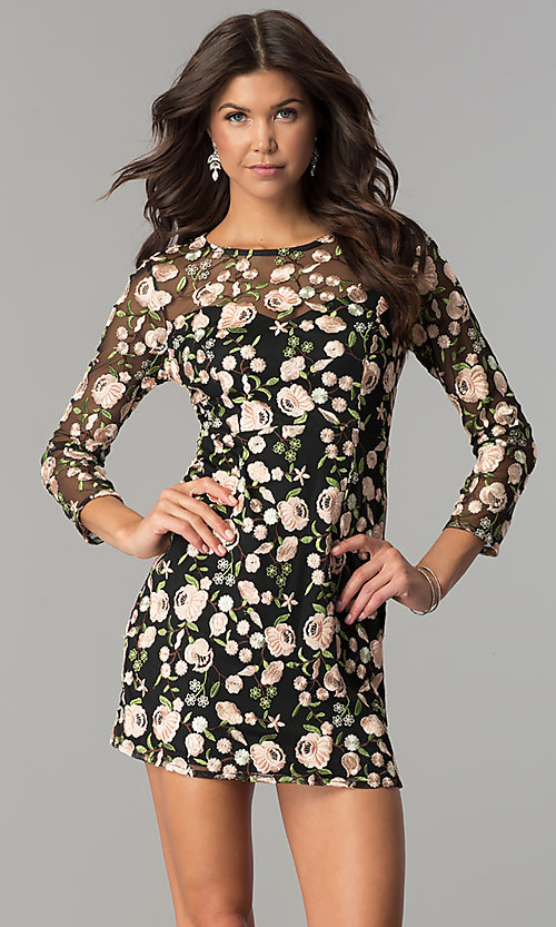 facb8edcfbd Image of embroidered short homecoming dress with sleeves. Style  MT-8756  Front Image