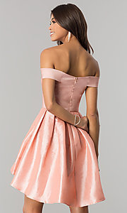 Image of off-the-shoulder short high-low homecoming dress.  Style: MT-8858 Back Image