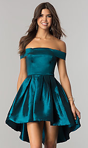 Image of off-the-shoulder short high-low homecoming dress.  Style: MT-8858 Detail Image 3
