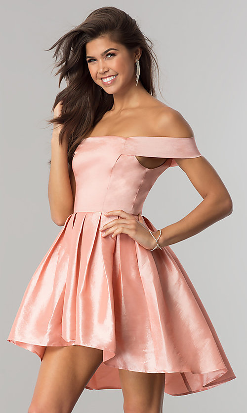 Image of off-the-shoulder short high-low homecoming dress.  Style: MT-8858 Detail Image 1