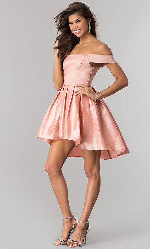 Image of off-the-shoulder short high-low homecoming dress.  Style: MT-8858 Front Image