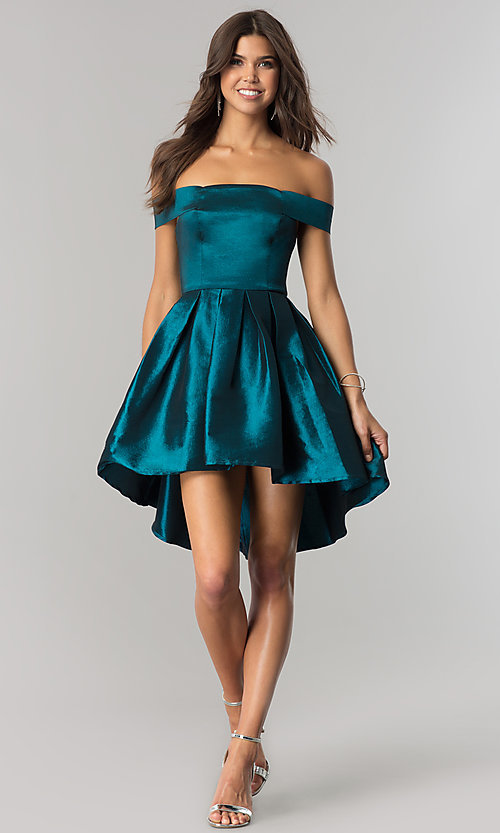 Image of off-the-shoulder short high-low homecoming dress.  Style: MT-8858 Detail Image 2