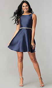 Image of navy blue short homecoming dress with beaded waist. Style: MT-8784 Detail Image 1