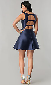 Image of navy blue short homecoming dress with beaded waist. Style: MT-8784 Detail Image 2