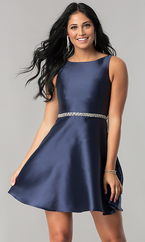 Image of navy blue short homecoming dress with beaded waist. Style: MT-8784 Back Image
