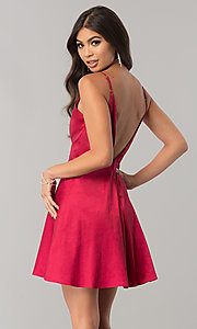 Image of open-back short homecoming dress with deep v-neck. Style: MT-8764 Detail Image 3