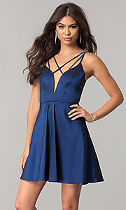 Image of open-back short homecoming dress with deep v-neck. Style: MT-8764 Front Image