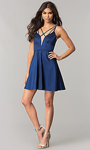 Image of open-back short homecoming dress with deep v-neck. Style: MT-8764 Detail Image 1