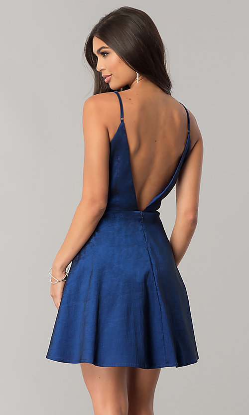 Image of open-back short homecoming dress with deep v-neck. Style: MT-8764 Back Image