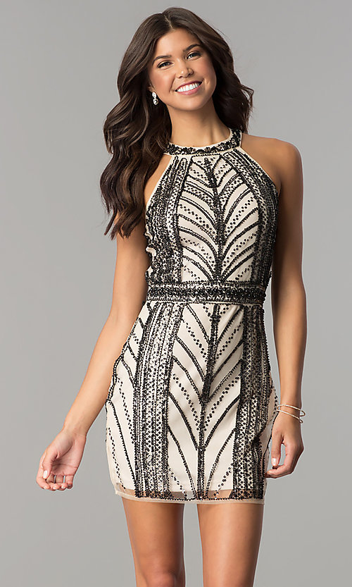 Image of nude homecoming party dress with black sequin print. Style: MT-8697 Front Image