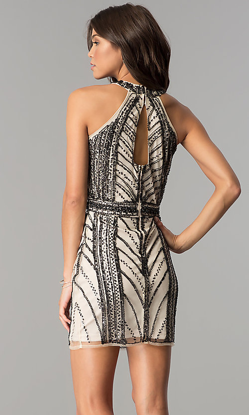 Image of nude homecoming party dress with black sequin print. Style: MT-8697 Back Image