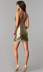 Image of cowl-neck short metallic gold holiday party dress. Style: MT-8848 Detail Image 2