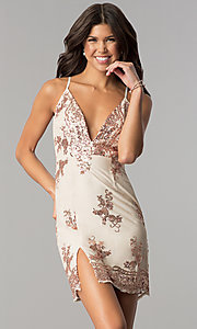 Image of short nude v-neck party dress with pink sequins. Style: MT-8740 Front Image