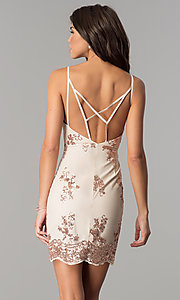 Image of short nude v-neck party dress with pink sequins. Style: MT-8740 Back Image