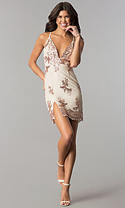 Image of short nude v-neck party dress with pink sequins. Style: MT-8740 Detail Image 2