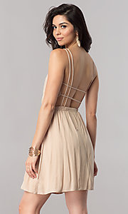 Image of short casual cruise party dress with open back.  Style: RO-R66607 Back Image