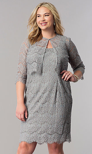 Glittered Lace Short Plus-Size Mother-of-the-Bride Dress