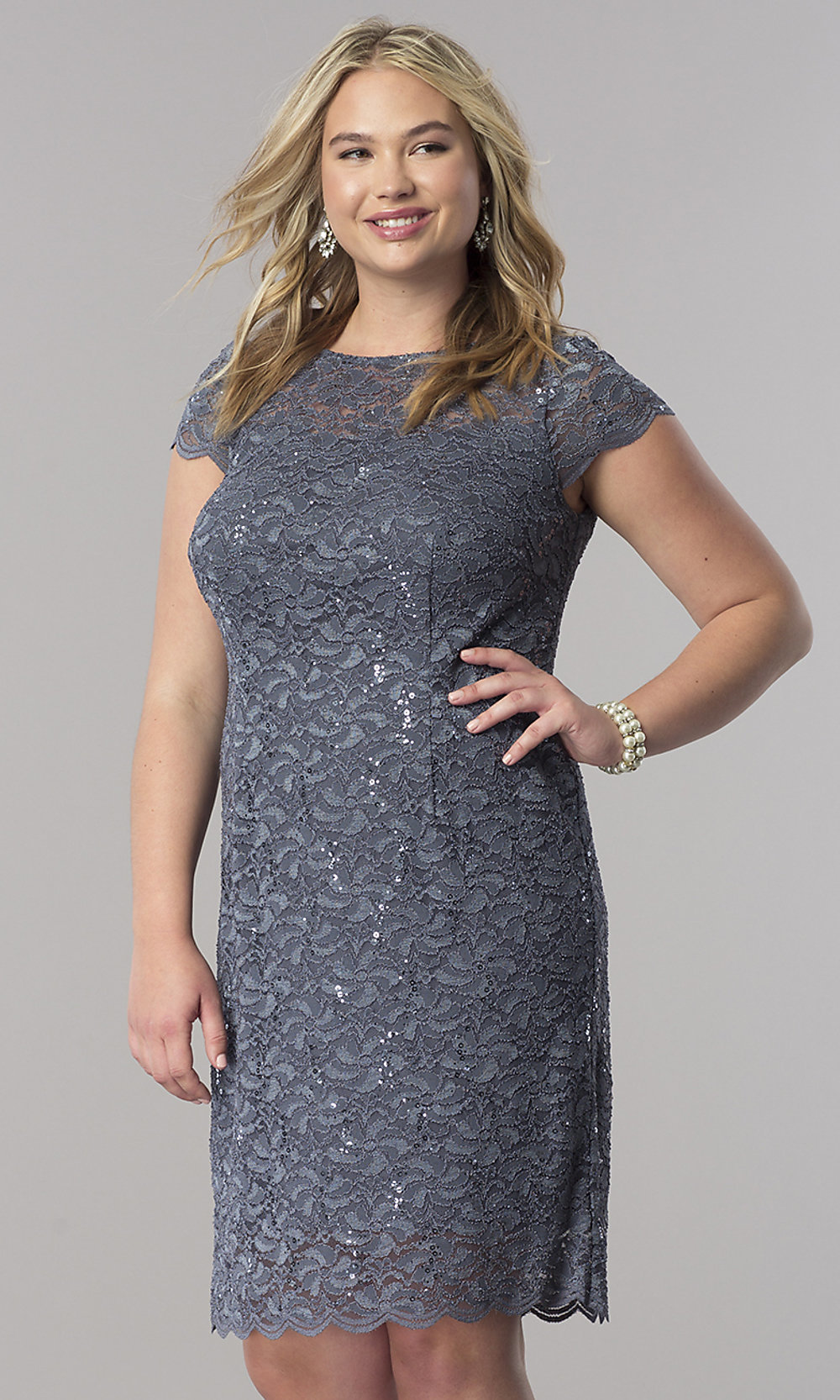Lace Short-Sleeve Plus-Size Mother-of-the-Bride Dress