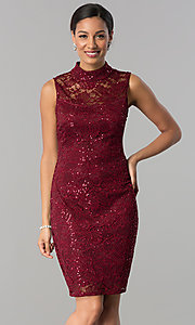 Image of short lace wedding-guest sheath dress with sequins.  Style: JU-MA-263624 Front Image