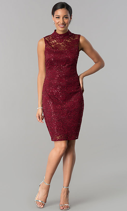 Image of short lace wedding-guest sheath dress with sequins.  Style: JU-MA-263624 Detail Image 1