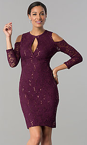 Image of cold-shoulder long-sleeve lace cocktail party dress.  Style: JU-MA-263593 Front Image